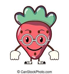 kawaii, jordbær, frugt, lækker, glade