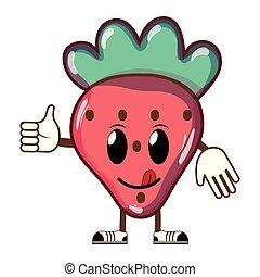 kawaii, jordbær, frugt, lækker, rar