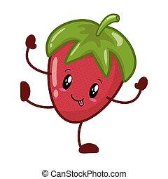kawaii, jordbær, karakter, cartoon