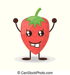 kawaii, jordbær, karakter, morsom