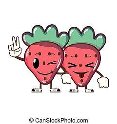 kawaii, jordbær, par, frugt, lækker
