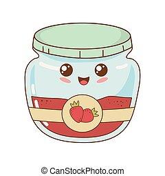 kawaii, jordbær, pot, syltetøj, karakter