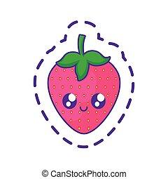 kawaii, karakter, lap, jordbær, frugt, lækker