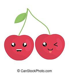 kawaii, kirsebær, frugt, karakter, lækker