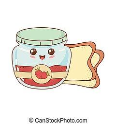 kawaii, pot, karakter, jordbær jam, bread