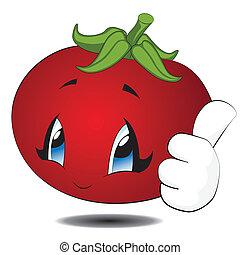 kawaii, tomat, cartoon