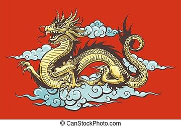 kinesisk, himmel, drage, traditionelle