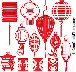 kinesisk, samling, lanterne