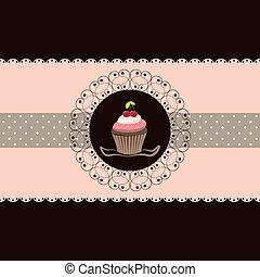 kirsebær, cupcake, card, invitation