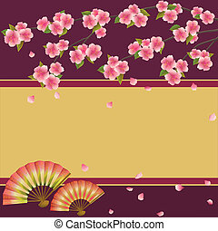 kirsebær træ, japansk, vifte, sakura, baggrund
