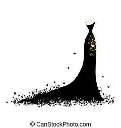 klæde, aftenen, sort, bøjler
