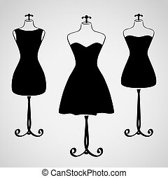 klæde, silhuet, kvindelig, klassisk