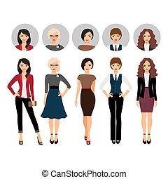 klæder, forskellige, kvinde, firmanavnet, unge