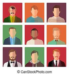 klæder, forskellige, mandlig, firmanavnet, avatars