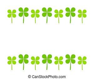 kløver, blade, grøn baggrund, hvid, grænse