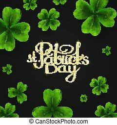 kløver, dag, leaves., patricks, shamrock, heldige, st., baggrund