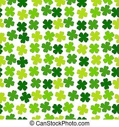 kløver, leaves., vektor, grønne, design., baggrund, patricks, dag, enkel, pattern., st., seamless, gentagen, cute