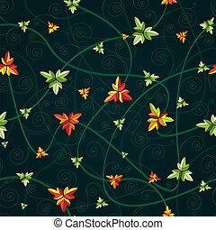 kløver, mønster, seamless, leaves., mørke, baggrund.