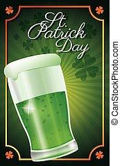 kløver, patrick, st., traditionelle, glas, øl, baggrund, plakat, dag, fest