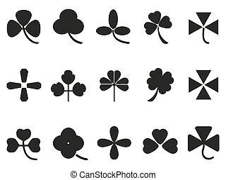 kløver, sæt, blad, iconerne