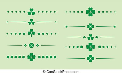 kløver, sæt, patrick, dividers, -, vektor, grønne, helgen, dag