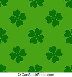 kløver, vektor, baggrund., shamrock, grønne, design., patricks, glade, dag, blade, enkel, pattern., st., seamless, cute