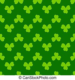 kløver, vektor, forår, baggrund., shamrock, grønne, design., patricks, glade, dag, blade, enkel, pattern., st., seamless, cute