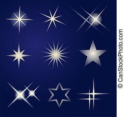 klar, sæt, stjerner