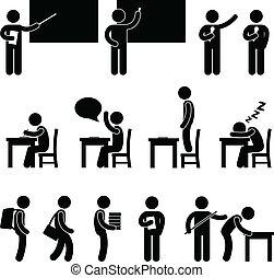 klasse, skole rum, student, lærer