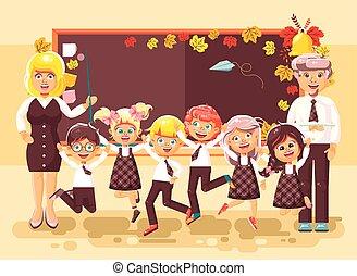 klasseværelse, lejlighed, firmanavnet, eleverne, siddende, textbooks bøger, indstudering, lærlinger, baggrund, tilbage, illustration, cartoon, skole, vektor, skolepiger, bogstaverne, sort vægtavle, lærere, hæfte, skoledreng