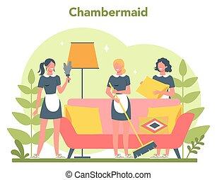 klassisk, tjenestepige, kvinde, rensning, cleaning., tjeneste, beboelseslejligheden