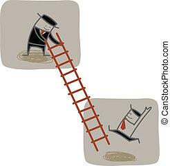 klatre, forretningsmand, oppe, stige, en anden, hjælp