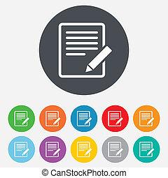 klippe, button., tegn, tilfredshed, icon., dokument