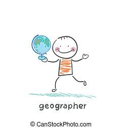 klode, geograf, hænder