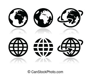 klode jord, vektor, sæt, iconerne