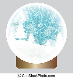 klode, jul, baggrund, sne