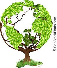 klode, træ, grønne, concep, jord, verden