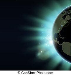 klode verden, begreb, formørkelse, solopgang