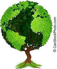 klode verden, begreb, træ, jord