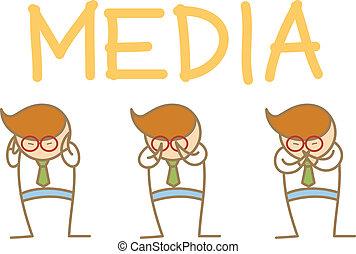 klog, abe, karakter, tre, udtryk, cartoon, mand