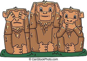 klog, illustration, monkeys., hemmelighedsfuld, nej, karakter, tre, isoleret, se, vektor, afhøre, evil., onde, tal, apes., white.