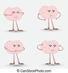 klog, nej, tre, icons., style., hjerne, se, vektor, afhøre, evil., onde, komisk, aber, tal