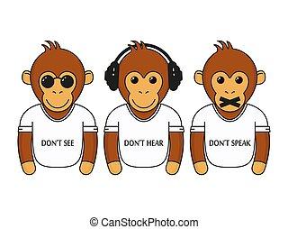 klog, påklædt, tre, aber