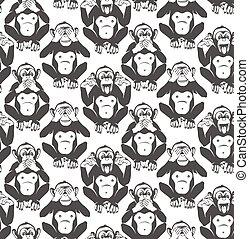 klog, vektor, monkeys., tre, pattern., seamless, illustration.