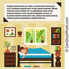 klokke, humøret, daggry, morning., oppe, positiv, day., start, udenfor, landskab, interior, vindue., gode, cozy, room., illustration, tidligere, vække, clock., alarm, muntre, vektor