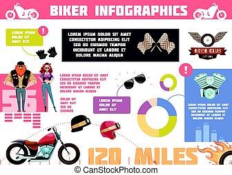 klub, doodle, biker, infographics