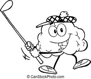 klub, hjerne, skitseret, golf, svinge