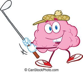 klub, hjerne, smil, golf, svinge