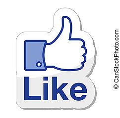 knap, facebook, det, ligesom