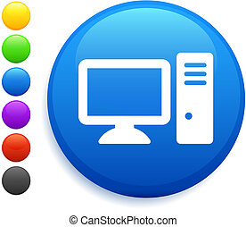 knap, ikon computer, omkring, internet